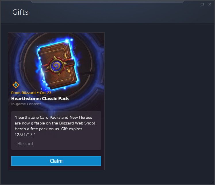 You Can Now Gift Hearthstone Packs via Blizzard's Web Shop